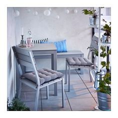 IKEA - FALSTER, Table+2 chairs, outdoor, gray, , Polystyrene slats are weather-resistant and easy to care for.The furniture is both sturdy and lightweight as the frame is made of rustproof aluminum.You can make your chair more comfortable and personal by adding a chair pad in a style you like.