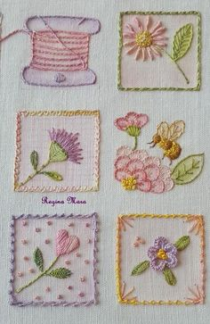 Embroidery Inspiration Hand Stitching Needlework Ideas For 2019 Brazilian Embroidery Stitches, Hand Embroidery Stitches, Crewel Embroidery, Embroidery Techniques, Cross Stitch Embroidery, Vintage Embroidery, Embroidery Tattoo, Embroidery Needles, Hand Stitching