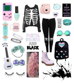"""Pastel goth"" by xxstar-childxx ❤ liked on Polyvore featuring Hot Topic, ban.do, Topshop, Mint Velvet, Glamour Status, Fujifilm, Boohoo, Dr. Martens and ZeroUV"