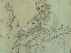 """DOMINIQUIN (d'Après) - St Nil guérit un Jeune Possédé avec l'Huile de la Lampe, Le Père et son Fils (drawing, dessin, disegno-Louvre INV9147) - Detail 09  -  TAGS /  details détail détails detalles """"dessins 17e"""" """"17th-century drawings"""" """"Italian paintings"""" """"peinture italienne"""" croquis étude Study studies sketch sketches Museum Paris France """"Domenico Zampieri"""" """"Le Dominiquin"""" """"saint Nil"""" kid kids child children  Bible man men hommes portrait portraits face """"little boy"""" garçon père father son…"""