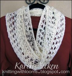afghan loom knitting   Knitting With Looms: Finished Lacy Infinity Scarf
