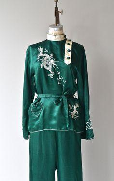 First Empire pajama set silk 1930s pajamas vintage by DearGolden