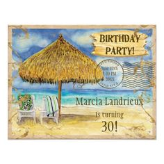 Destination Paradise Tropical Beach Birthday Party Card