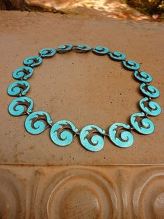 Margot de Taxco Mexico Sterling Silver Aqua Blue Enamel Necklace