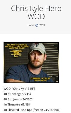NOTICE STEADY GAINS IN YOUR CROSSFIT. Hero wod Chris Kyle (America sniper)