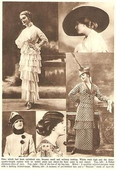 SEPIA PRINT C1936 - LADIES FASHIONS IN THE 1914/18 WAR YEARS