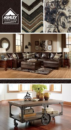 Love the mix of materials - leather, metal and wood! (Beenison Sectional - Ashley Furniture HomeStore)