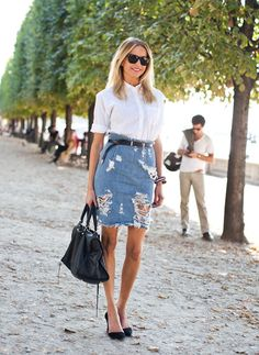 DENIM SKIRT TRENDING 2013 | denim-skirt-street-style http://onegirlsparty-corrina.blogspot.com/2013/06/7-days-untill-summer.html