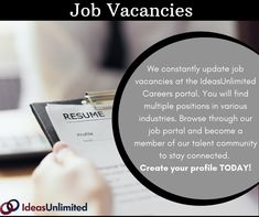 IdeasUnlimited has a multitude of job vacancies for people at all stages of their careers as well as a strong culture of learning. Find remote jobs at IU. Your Profile, Job Portal, Connection, How To Become, Career, Community, Create, Carrera