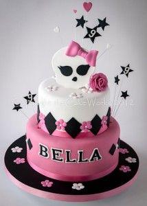 black pink white monster high cake