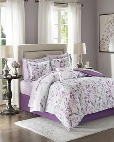 The Madison Park Essentials Lafael Complete Bed and Sheet Set is a bold and sophisticated update for your bedroom. The grey comforter showcases purple and dark grey floral leaves wafting gracefully toward the foot of the bed. Purple Comforter, Twin Comforter Sets, Bedding Sets, Bedroom Comforters, Bedspreads, How To Clean Pillows, Bedroom Colors, Bedroom Ideas, Purple Bedroom Decor