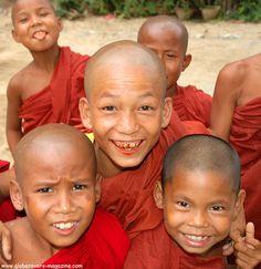 Novice Monks, Village of Mingun, north of Mandalay, Myanmar