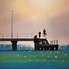 Instagram media suburbangallery - These amazing Melbourne days when I walk along the beach lead me to my saying 'Its  a 'Stella' ( Clarke) day' ! As her artworks capture the bay beautifully! 'Halcyon Summer'  90 x 90cm #art#artgallery#melbourneart#bayside#artdealer#ocean#interiors#contemporaryart#summer