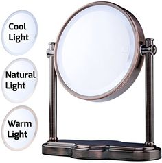 Ovente LED Lighted Makeup Mirror, SmartTouch 3-Tone Lighting (Daylight, Cool, Warm), Tabletop Vanity Mirror, Battery or USB Adapter Operated, 1x/5x Magnification, 8 inch, Antique Brass (MHT80AB1X5X) #Ovente #Lighted #Makeup #Mirror, #SmartTouch #Tone #Lighting #(Daylight, #Cool, #Warm), #Tabletop #Vanity #Battery #Adapter #Operated, #Magnification, #inch, #Antique #Brass #(MHTABXX)