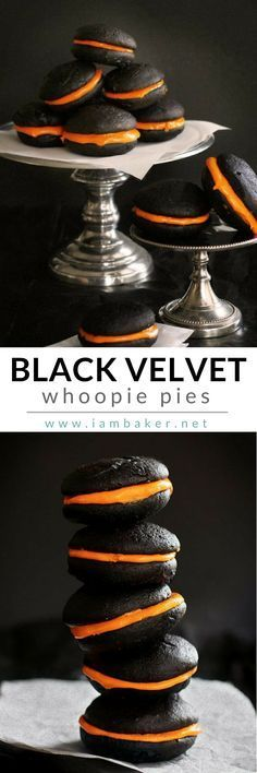 Serve an easy Halloween Recipe as a snack for your Kids with this Black Velvet whoopie, whoopie, in the form of pie! Just simply delicious! Pin this to your Halloween Recipes board. Shared by Where YoUth Rise Halloween Desserts, Halloween Tags, Postres Halloween, Halloween Food For Party, Fall Desserts, Just Desserts, Delicious Desserts, Dessert Recipes, Scary Halloween Cakes
