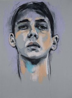 "Image of ""The Runner"", Oil Pastel Portrait, by Swedish artist Emma Tingård"