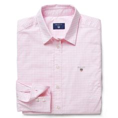 GANT - Gingham Checked Stretch Oxford Shirt Light Pink for women | Offisiell nettside
