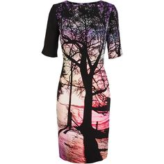 MARY KATRANTZOU Tree Printed Silk Dress (€805) ❤ liked on Polyvore featuring dresses, vestidos, short sleeve dress, mary katrantzou, colorful dresses, round neck black dress and round neck short sleeve dress