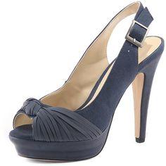 Navy peeptoe platform shoes ($19) ❤ liked on Polyvore