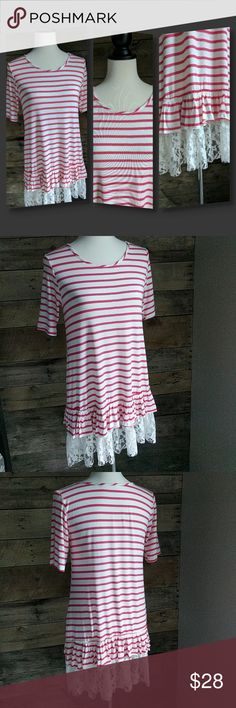💕 Striped Tunic with Lace Hem 💕 Soft flowy tunic with pink and white stripes. White lace hem. Tops Tunics