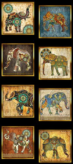 """Caravan - Painted Elephant Mosaic - 24"""" x 44"""" PANEL - Quilt Fabrics from www.eQuilter.com"""