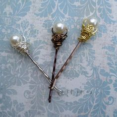 Wire Wrapped Beaded Crystal Pearl Bobby Pins