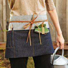 sew it from leftover denim! // Garden Utility Waist Apron from Williams-Sonoma Work Aprons, Cute Aprons, Cinto Obi, Teacher Apron, Restaurant Uniforms, Garden Tool Set, Garden Gear, Garden Junk, Gardening Apron