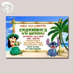 Lilo And Stitch Beach Party Birthday Party Card Digital Invitation birthday card party for boys and girls.