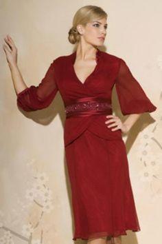 Burgundy Dress Suits, knee length, 3/4 sleeve, lace jacket, chiffon dress