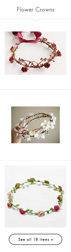 """Flower Crowns"" by shedevil06 ❤ liked on Polyvore featuring accessories, hair accessories, bridal crown, red hair accessories, red flower hair accessories, flower garland, red flower garland, bridal floral crown, pink floral headband and floral headband"