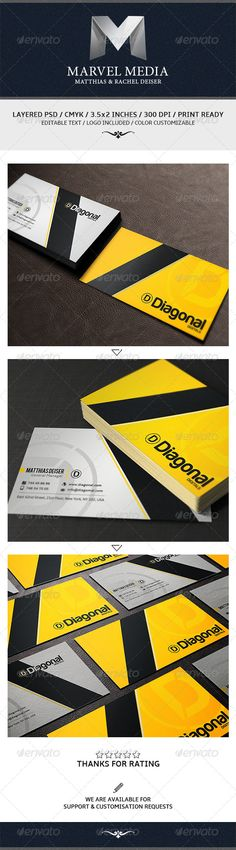 "Yellow Business Card  #GraphicRiver         Creative business card template with modern style. Suitable for any kind of business.  	 For help regarding this template, please feel free to contact us through our profile page.  	 Ready to print Horizontal Dimension 300 DPI-CMYK 2.0×3.5 (2.25"" x 3.75"" with bleed) 300 DPI CMYK Print Ready! Custom Background  	 Fonts Used For This Template: Harabara Amble Download then for free from here:   .dafont /harabara.font  .fontsquirrel /fonts/amble…"