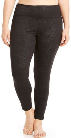 Plus Size Bally Total Fitness Embossed Workout Leggings >>> Be sure to check out this awesome product.