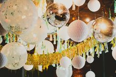 Have fun with your ceiling decor! Tassels, garlands, lanterns, even disco balls! Make yours a party to remember as you dance the night away. Studio 54, 70s Party, Party Time, Disco Party Decorations, Hanging Decorations, Disco Theme, Birthday Parties, Kid Parties, New Year Celebration