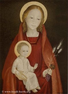 A Eucharistic depiction of Our Lady and the Christ Child by a Belgian artist. Just beautiful!