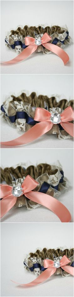 Custom Gold, Navy, Coral and Lace Wedding Garter-by The Garter Girl