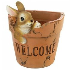 Reminiscent of Beatrix Potter, this adorable little bunny looks just like Peter Rabbit. He will happily greet your guests from his own cabbage patch pot. Simply add your favorite plant and attach it to your front porch wall. Hole on the bottom of pot allo Beatrix Potter, Garden Planters, Planter Pots, Porch Wall, Front Porch, Rabbit Garden, Plant Health, Tractor Supplies, Garden Statues