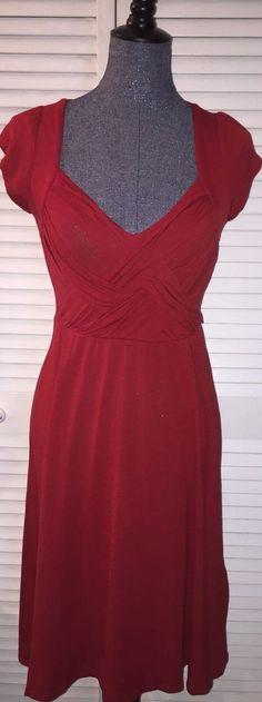 Anthropologie Deletta Red Jersey Crisscross Bodice Dress Small #Deletta #Jersey