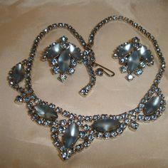 1950s Necklace Earrings Set Blue Rhinestones by TheJewelryEmporium, $65.00