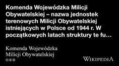 """""""Komenda Wojewódzka Milicji Obywatelskiej"""" på @Wikipedia:"""