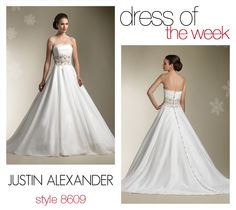 Dress Of The Week- 8609    We're kicking off November's first Dress Of The Week with style 8609. Your eye is immediately directed to the wedding gown's detailed bodice. It's made up of pleated organza and it cinches at the waist by a wide and heavily beaded cummerbund.