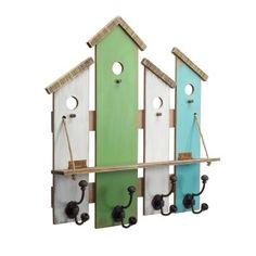 Tidy up your shabby chic or country entryway, mudroom, or kitchen with the Melrose International Birdhouse Shelf with Hooks - Set of 2 . Reclaimed Wood Wall Art, Wooden Art, Barn Wood, Wooden Christmas Crafts, Driftwood Lamp, House Shelves, Wooden Pallet Projects, Diy Interior, Recycled Art