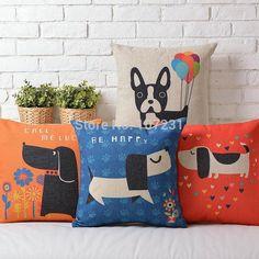 Ikea 45X45cm Retro Pillow Case Colourful dachshund Dog Cushion Cover Cute Puppies decorative throw pillows Cover