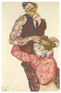 Lovers (Self-Portrait with Wally) by Egon Schiele, 1914-15