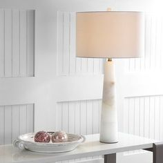 "Safavieh Lighting 30-inch Delilah Alabaster LED Table Lamp - 15""x15""x30"" - On Sale - Overstock - 22256158 White Lamp Shade, White Table Lamp, Lamp Table, Living Room Table Lamps, Alabaster Lamp, Contemporary Table Lamps, Modern Table, Lamp Shade Store, Cool Floor Lamps"