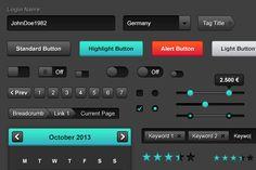 Web UI Kit - Dark Shades by Screendesire on @creativework247