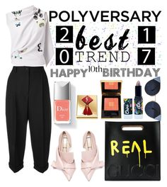 """Celebrate Our 10th Polyversary!"" by erliza on Polyvore featuring Dolce&Gabbana, Roland Mouret, Gucci, Couture Colour, Yves Saint Laurent, Fendi and Lime Crime"