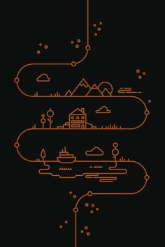 to resolve project - Tim Boelaars - I like the way in which this design uses one line to mark important land marks. A simple yet effective design. Cv Inspiration, Illustration Inspiration, Line Illustration, Graphic Design Illustration, Graphic Design Inspiration, Illustrations, Graphisches Design, Icon Design, Logo Design