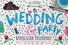 Wedding & Party Watrcolour Megaundle by fontgirl on Creative Market