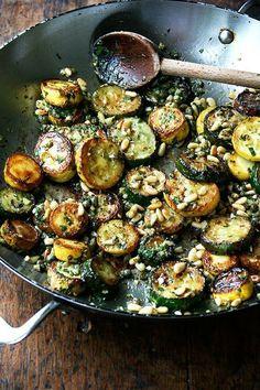 Sauteed Zucchini with Mint, Basil & Pine Nuts #Zucchini #recipe