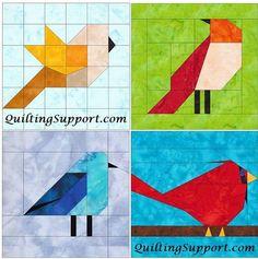 Este conjunto de aves de acolchar patrones del bloque 4 se puede hacer con experta precisión aplicando el papel piecing patrón base que presentamos aquí. Los patrones incluidos en este conjunto son: Pájaro Aves 2 Bluebird de la montaña Cardenal Pueden utilizarse restos o puede